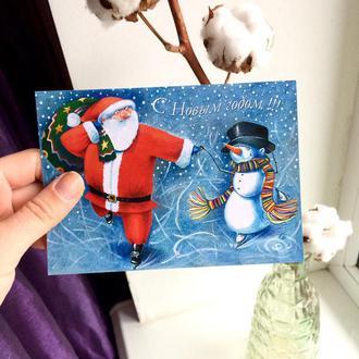 Новогодняя открытка «Санта на коньках»