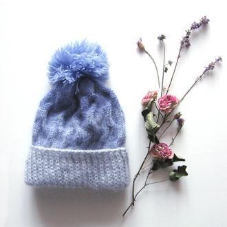 Женская зимняя вязаная шапка с помпоном