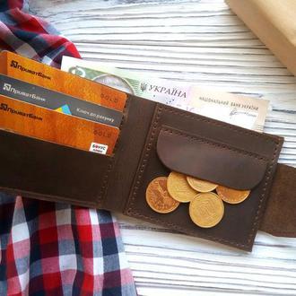 Кошельки для монет мужские, коричневое портмоне, подарки папе на день рождения от Kozhemyaka