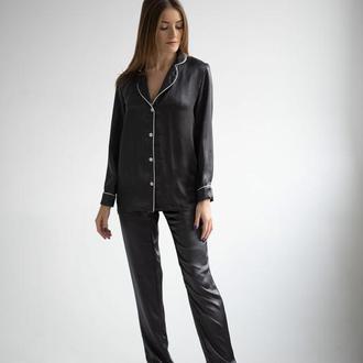 Шёлковая пижама Gabrielle Charcoal