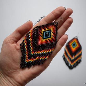 Мексиканские серьги, серьги из бисера, серьги с бахромой