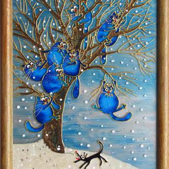 Витражная картина Спасение1. Синие коты Рины Зенюк. По мотивам рисунка художницы Ирины Зенюк (Рина)