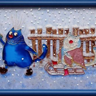 Витражная картина Свидание. Синие коты Рины Зенюк. По мотивам рисунка художницы Ирины Зенюк (Рина)