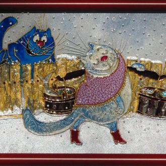 Витражная картина Несет Мурка воду. Синие коты Рины Зенюк
