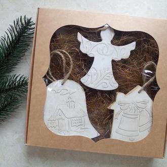 Необычные новогодние деревянные игрушки Елочные украшения Винтажные игрушки на елку Набор Ангел доми
