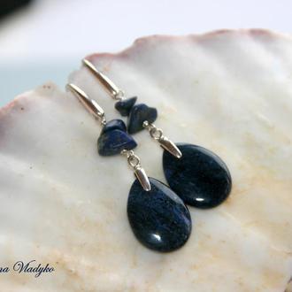 """Серебряные серьги с дьюмортьеритом  """"Dumortierite Drops"""", серьги с синим камнем, подарок"""