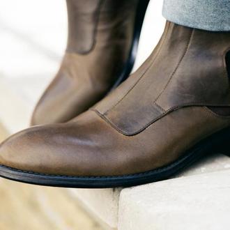"""Чоловічі оливкові чоботи з натуральної шкіри """"Monk shoe"""""""