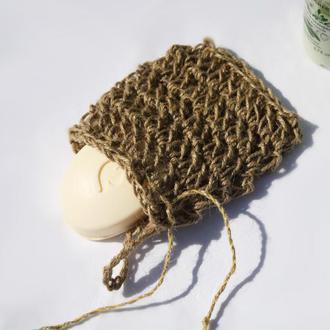 Мочалка мешочек из джута для мыла 15х12см