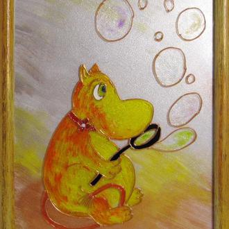 Картина Муми тролли Бусинка. Витражная картина на стекле