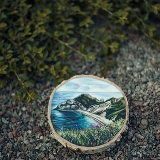 """Живопись на срезе дерева """"Морской пейзаж""""."""
