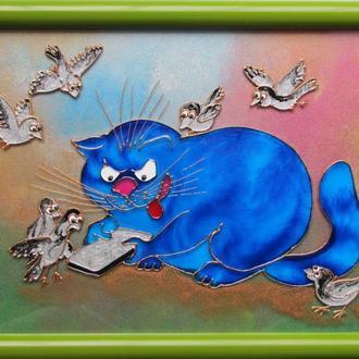 картина Кот игроман. Синие коты Рины Зенюк. Витражная картина