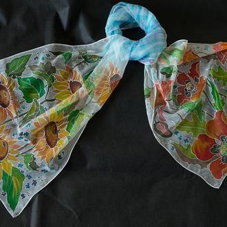 шарфик шелковый маки с подсолнухами