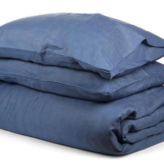 """Комплект постельного белья из 100% натурального льна, темно синего цвета """"Морская бездна"""""""