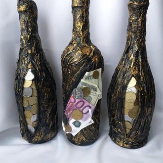 Денежная бутылка, декорированная бутылка