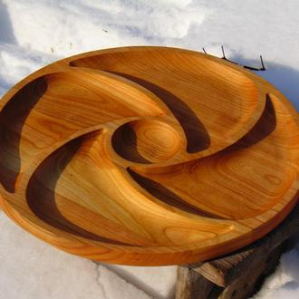 Деревянная тарелка. Менажница