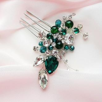 Свадебное украшение для волос, гребешок в прическу, украшение в прическу, изумрудная  заколка