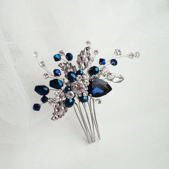 Украшение для волос, гребешок в прическу, украшение в прическу на выпускной, синяя заколка