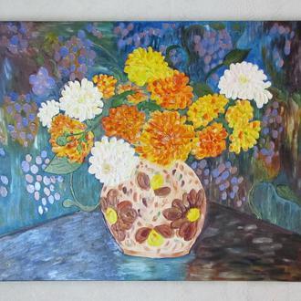 картина Ваза с цветами по мотивам Theo van Rysselberghe. Холст. Витражная картина