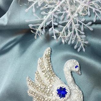 Брошь лебедь подарок на Новый Год