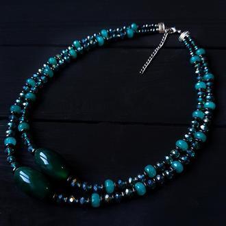 """Колье из натурального кварца и кристаллов двухрядное """"Red Sea"""" бусы бирюзовые колье с камнями"""