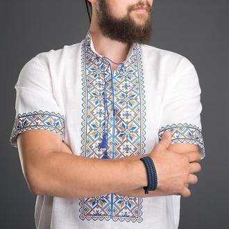 "Вышиванка мужская ""Зiрка"" синяя с желтым 00504"