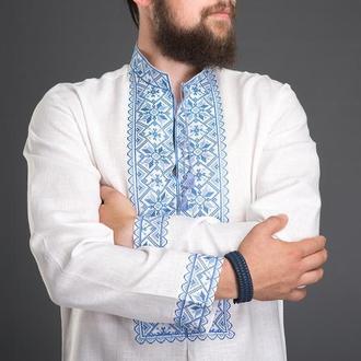 """Вышиванка мужская """"Зiрка"""" голубая 00503"""