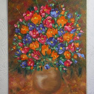 картина Букет цветов. 30-40 см, Холост, масло