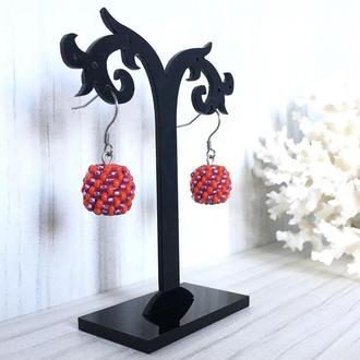 Красные серьги шарики из бисера, сережки с шарики, бисерные серьги
