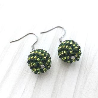 Зеленые бисерные бисера, круглые серьги, серьги шарики
