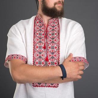 "Вышиванка мужская ""Геометрия"" красная 00507"