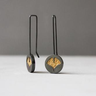 Сережки з листками Гінкго