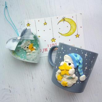 """Чашка с декором из полимерной глины """"Медведь соня"""""""