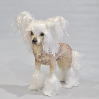 Китайская хохлатая собачка.Интерьерна игрушка из шерсти.
