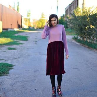 Стильное нежное яркое платье миди