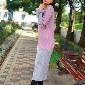Теплое стильное оригинальное платье миди