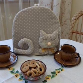 """Грелка для чайника """"Котик"""" горошек"""