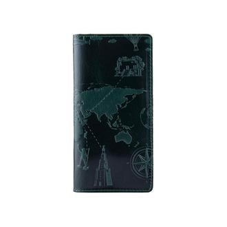 "Зеленый Кожаный Бумажник Hi Art WP-02 Crystal Green ""7 wonders of the world"""