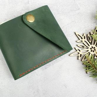 Гаманець зеленого кольору з натуральної шкіри