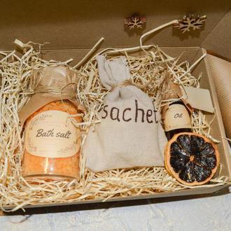 Подарочный набор девушке/маме/женщине/ароматический/спа/косметический цитрусовый подарок/саше цитрус