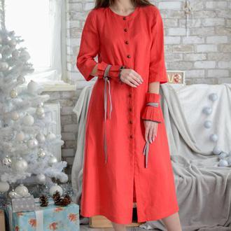 Красное льняное платье. Платье миди. Изысканное платье со съемными рукавами