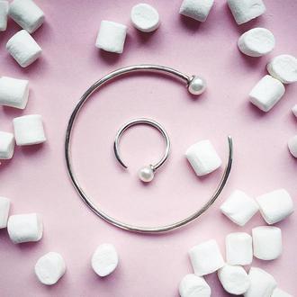 Кольцо серебряное с жемчугом + браслет (КОМПЛЕКТОМ ДЕШЕВЛЕ -20%)