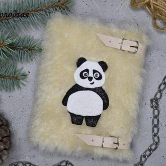 Пушистый блокнот, панда, меховой блокнот