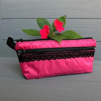 Пенал-косметичка с карманом, розовая косметичка