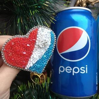 Брошь сердце Pepsi