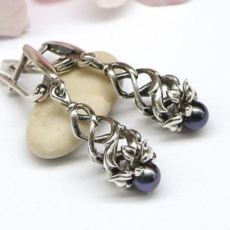 Объемные серебряные серьги Спирали с натуральным жемчугом