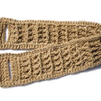 Мочалка для спины натуральная  из джута с объемным узором