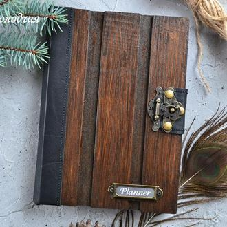 Деревянный блокнот, мужской планер из дерева и кожи