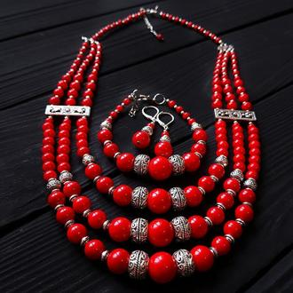 """Комплект """"Перепевы"""" ожерелье, браслет, серьги с серебряными застежками колье из коралла серьги"""