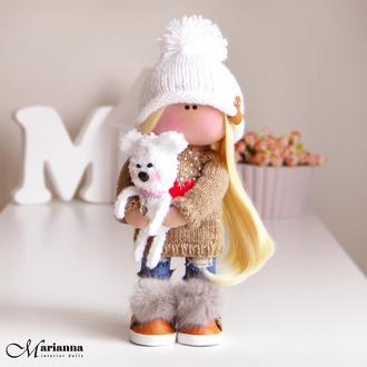 Интерьерная кукла. Кукла трикотажная. Кукла из ткани. Кукла тыквоголовка. Кукла тильда