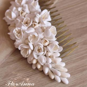 """""""Воздушный айвори"""" свадебный гребень для волос с цветами. Украшение в прическу для невесты"""
